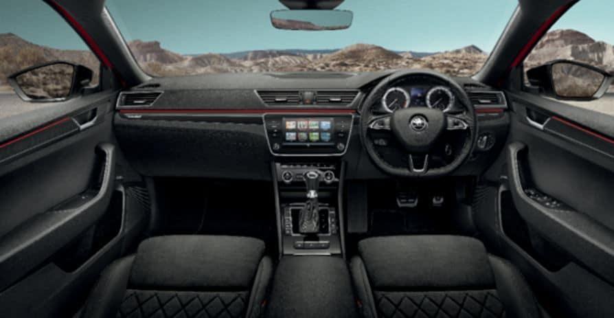 The cabin of Skoda Superb 2020 - Sportline trim.