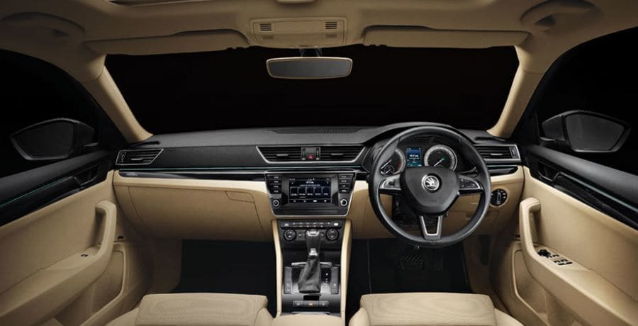 The cabin of Skoda Superb 2020 - Laurin & Klement trim.
