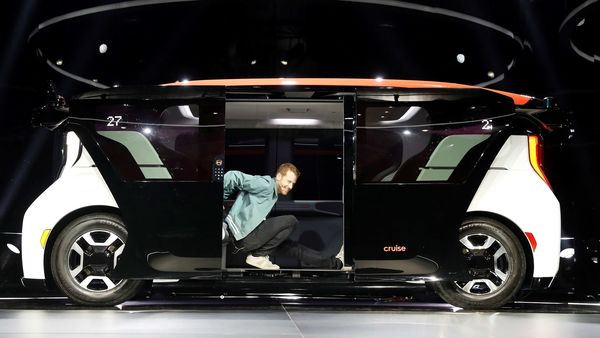 File photo: Kyle Vogt, chief technology officer, president and co-founder of Cruise stretches from a Cruise Origin autonomous vehicle. (REUTERS)