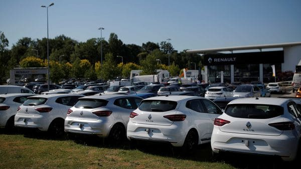 Cars are displayed for sale at a Renault dealership in Nantes, France. (REUTERS)