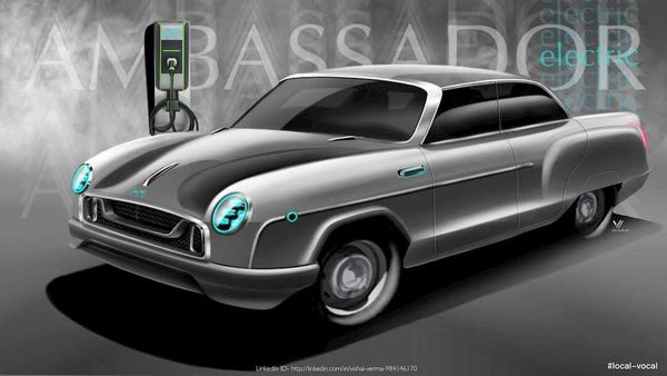 Electric avatar of the iconic HM Ambassador car as designed by Vishal Verma.