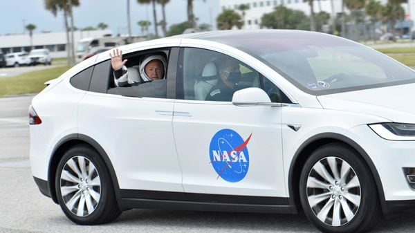 Instead of  a traditional Astrovan, a Model X was the preferred mode of transportation for astronauts all set for SpaceX's foray into space. And although the launch on May 27 had to be delayed due to bad weather, officials said it was a good practice session.In this photo, NASA astronaut Douglas Hurley waves from his Tesla as they pass the VAB heading to Pad39A for the launch of the SpaceX Crew Dragon on a Falcon 9 booster rocket from the Kennedy Space Center in Cape Canaveral, Florida. (REUTERS)