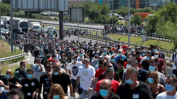 File photo: Nissan workers block B-10 highway as they protest against the possible closure of the plant at Zona Franca, during the coronavirus disease outbreak in Barcelona, Spain. (REUTERS)