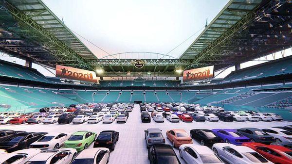 The Hard Rock Stadium in Florida can accommodate up to 230 cars. Photo courtesy: Hard Rock Stadium/https://hardrockstadium.com/Theater/