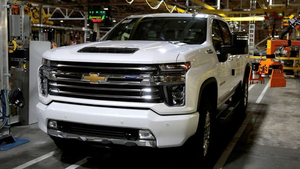 FILE PHOTO: A Chevrolet 2020 heavy-duty pickup truck is seen at the General Motors Flint Assembly Plant in Flint, Michigan, US. (REUTERS)