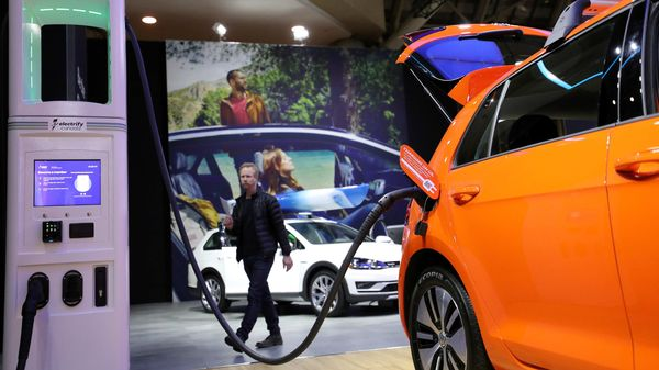 File photo: A Volkswagen E-Golf electric vehicle displayed at an auto show. (REUTERS)