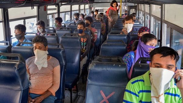 Amritsar: Passengers travel in a bus after the Punjab Government resumed public transport services, during the lockdown nationwide COVID-19 lockdown, in Amritsar, Wednesday, May 20, 2020. (PTI Photo)(PTI20-05-2020_000250B) (PTI)