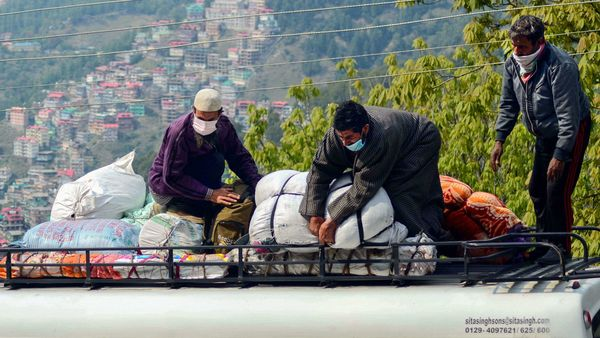 Shimla: Stranded Kashmiri workers board a bus for Jammu and Kashmir from Lakkar�Bazar Bus stand. This photo is dated April 25. (PTI)