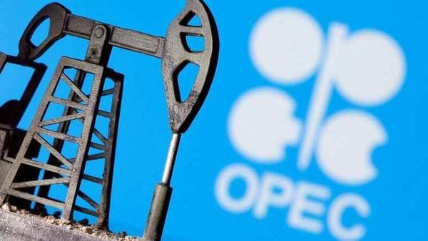 File Photo: A 3D printed oil pump jack is seen in front of displayed Opec logo in this illustration picture, April 14, 2020 (REUTERS)