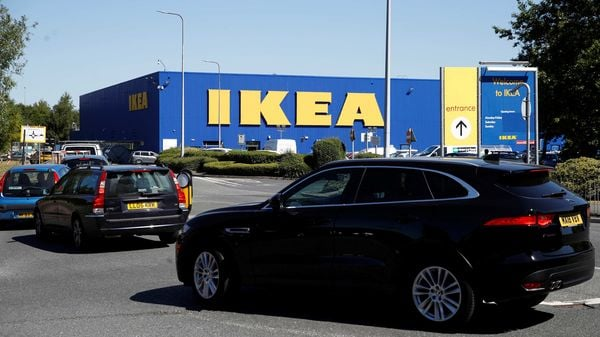 Cars queue for the car park at Ikea in Warrington (Britain) as it re-opens, following the outbreak of the coronavirus disease (COVID-19). (REUTERS)