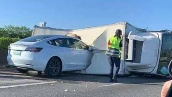 A Tesla Model 3 was seen ramming into an overturned truck on a highway despite having Autopilot system.