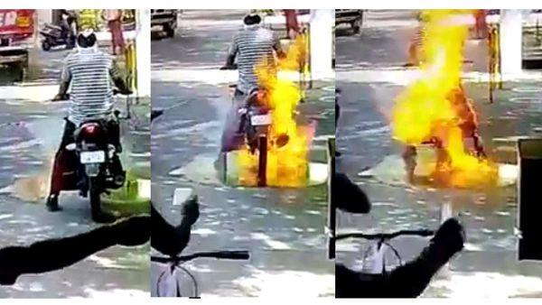 Bike catches fire due to sanitiser spray.