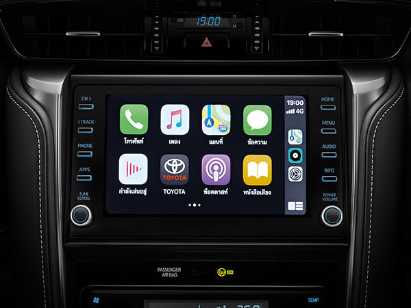 The facelift Fortuner gets a larger eight-inch infotainment touchscreen and is compatible with Apple CarPlay and Android Auto. The Legender variant on offer gets an even bigger nine-inch touchscreen.