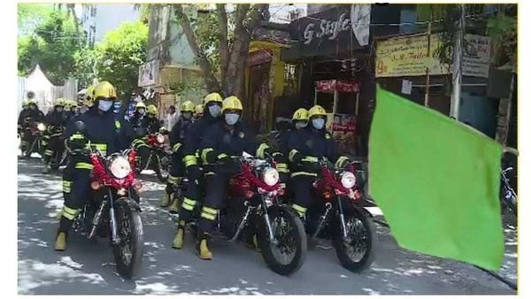 Squad of new disinfectant sprayer-fitted Royal Enfield bikes. Image Courtesy: News/Youtube