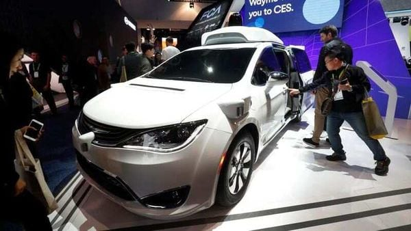 File photo: A Waymo autonomous vehicle is displayed at the Fiat Chrysler Automobiles booth during the 2019 CES in Las Vegas. (REUTERS)