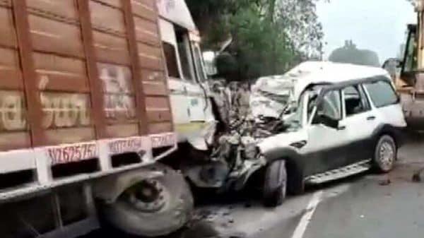 A Mahindra Scorpio SUV reportedly rammed into a truck head on in Uttar Pradesh's Nawabganj, killing nine on Friday. (Photo courtesy: ANI UP)