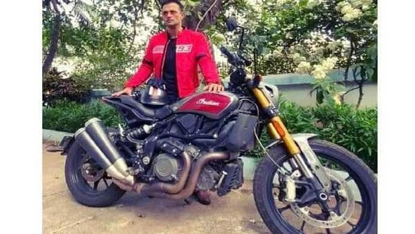 Actor Rohit Roy posses with his Indian FTR 1200 motorcycle. Image Courtesy: @RohitBoseRoy/Twitter