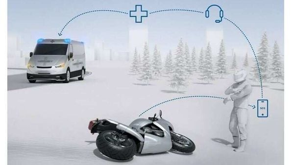 In case of an accident, the Bosch 'Help Connect' system automatically detects the change in angular position and speed of the motorcycle and responds by sending alert to emergency services.
