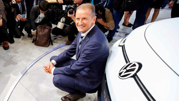 FILE PHOTO: Herbert Diess, CEO of German carmaker Volkswagen AG, poses in front of an ID.3 pre-production prototype during the presentation of Volkswagen's new electric car on the eve of the International Frankfurt Motor Show IAA in Frankfurt, Germany September 9, 2019. (REUTERS)