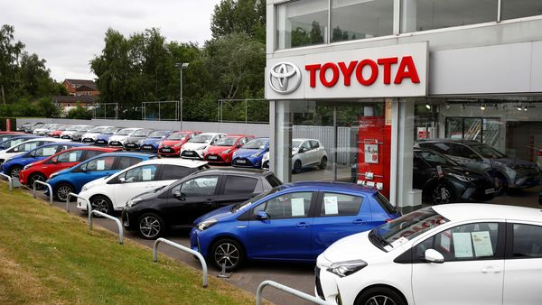 File photo: Cars are seen outside the Toyota car showroom in Stockport, following the outbreak of the coronavirus disease. (REUTERS)