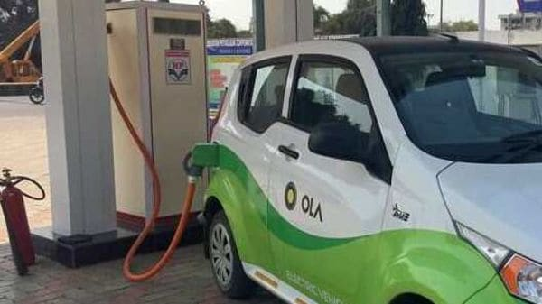 Mahindra's, e2oPlus, operated by Indian ride-hailing company Ola, is seen at an electric vehicle charging station in Nagpur, India. (Representational photo) (REUTERS)