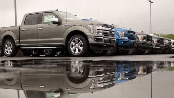 File photo of F-150 trucks on display at a car dealership in Peoria, Illinois, US. (Bloomberg)