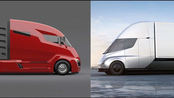 Photo of Nikola Corp's One hybrid electric truck (left) and Tesla Semi all-electric truck.