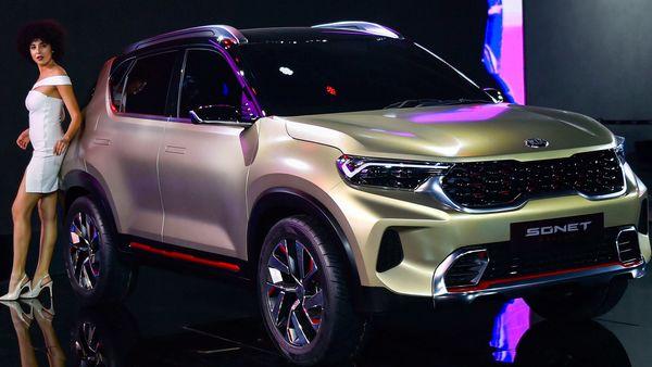 Kia Sonet was showcased in concept form at Auto Expo 2020. (File photo) (PTI)