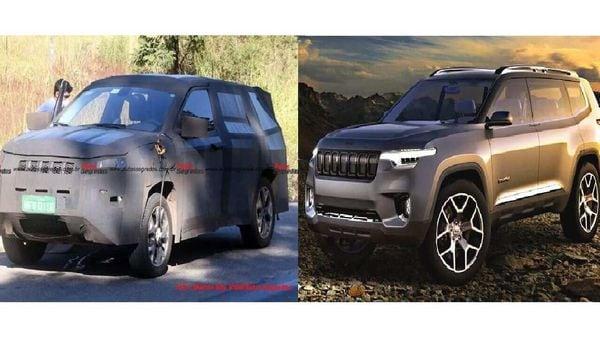 7-Seat Jeep Compass spy shot (left) Image Credits: autossegredos. Jeep Yuntu 7-seat concept (right) (representational Image)