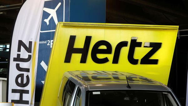 Buying stock in bankrupt companies is risky. (File photo of Hertz logo). (REUTERS)