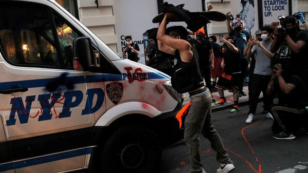 Many protesters have targeted NYPD vehicles during demonstrations in New York. (REUTERS)