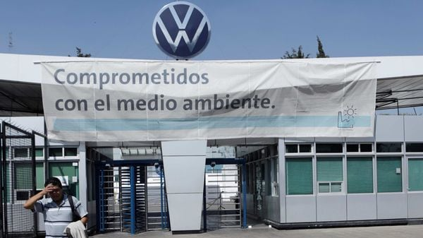 FILE PHOTO: An employee leaves the Volkswagen plant in Mexico amid growing worries over the spread of the coronavirus disease in Puebla, Mexico March 29, 2020. (REUTERS)