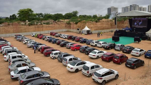 Bengaluru's Bethel AG Church conducted a drive-in worship service where the congregation attended in the comfort of their cars to maintain physical distancing during the Covid-19 pandemic. (PTI)