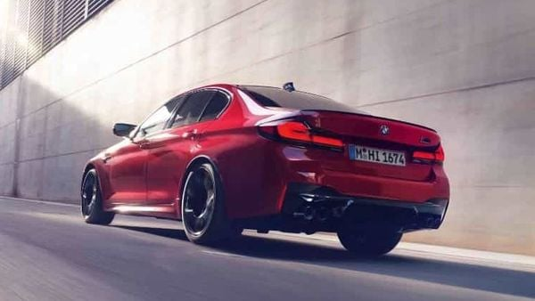 The 2021 BMW M5 is powered by the S63 4.4-liter TwinPower turbocharged V8 engine producing 600 hp at 6,000 rpm and 553 ft-lbs of torque from 1,800 – 5,690 rpm. The M5 Competition Sedan's engine tuning increases power to 617 hp at 6,000 rpm and offers a 170 rpm-wider torque band, 553 ft-lbs at 1,800 – 5,860 rpm.