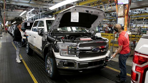FILE PHOTO: A 2018 F150 pick-up truck moves down the assembly line at Ford's Dearborn Truck Plant in Dearborn, Michigan U.S. (REUTERS)