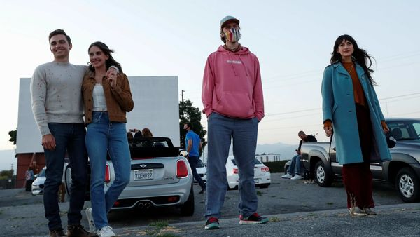 Director Dave Franco and cast members Alison Brie, Dan Stevens and Sheila Vand pose as they attend an advanced screening for the movie - The Rental - at the Vineland Drive-In movie theater in City of Industry, California, U.S. (REUTERS)