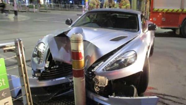 Photo of the V12 Aston Martin Vanquish that crashed in Melbourne. (Photo courtesy: police.vic.gov.au)