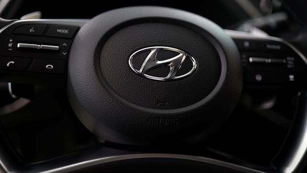 File Photo: The logo of Hyundai Motors is seen on a steering wheel of a all-new Sonata sedan.