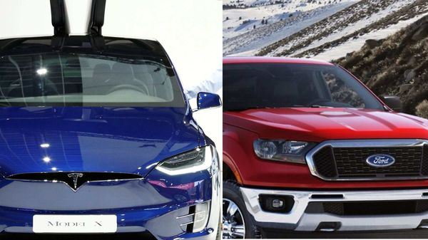 Tesla Model X and Ford Ranger pickup (right)