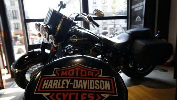 The logo of Harley-Davidson is seen on one of their models at a shop. (REUTERS)