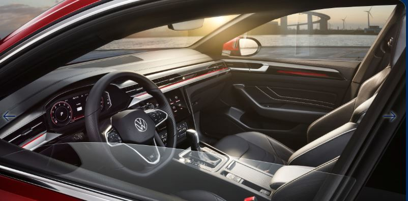 New faux leather surfaces are embossed with accent stitching and more options are offered in choosing insert materials. For the music lovers, there is a Harman Kardon sound system specifically configured for this model and combined with the ambient lighting system which will allow one to enjoy trips on board the Arteon.