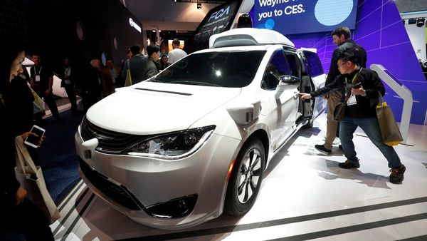 A Waymo autonomous vehicle is displayed at the Fiat Chrysler Automobiles booth during the 2019 CES in Las Vegas. (REUTERS)