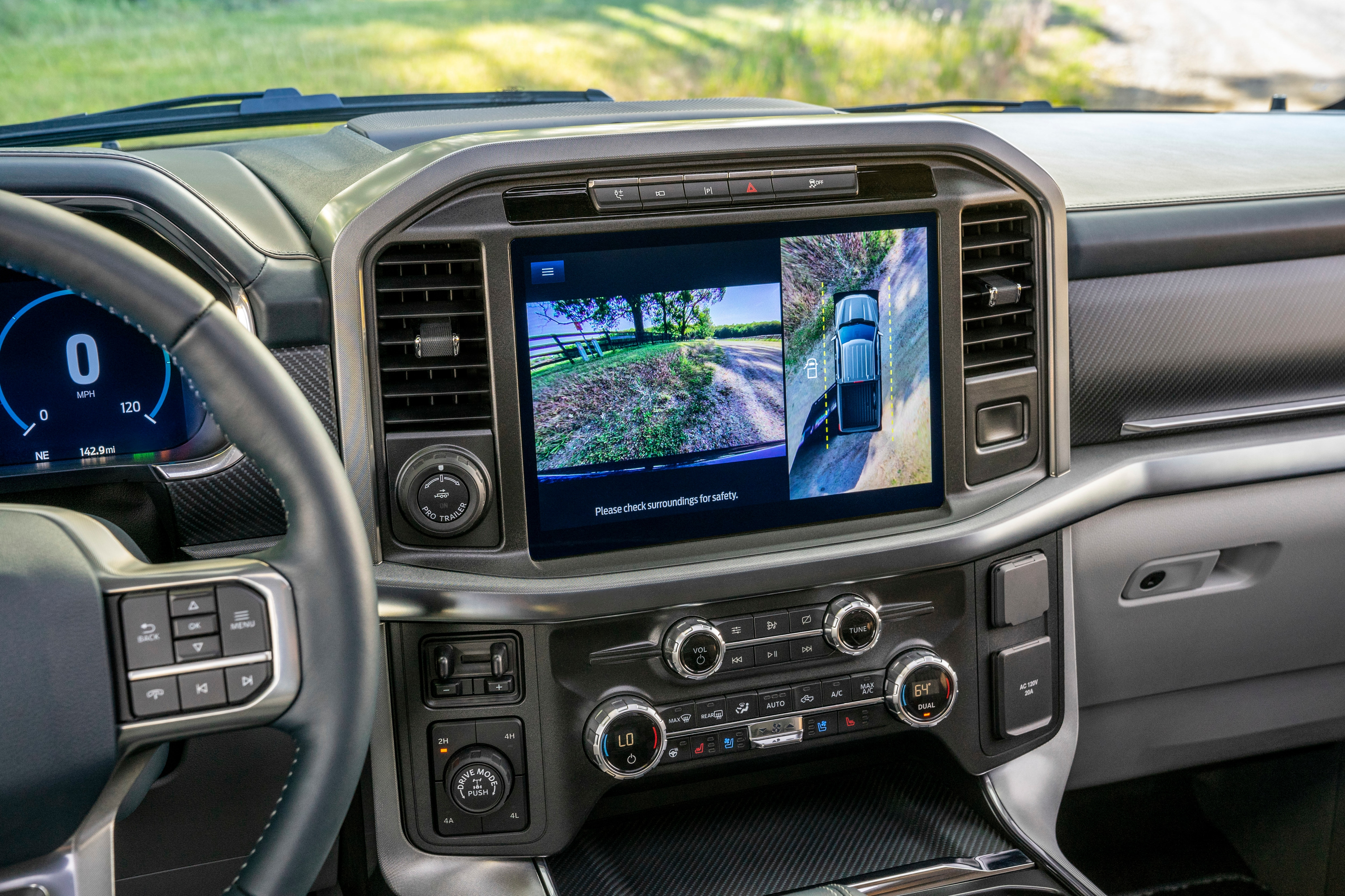F-150 introduces an all-new 12-inch centre screen – standard on XLT high series and above – that allows customers to split the screen and control multiple functions simultaneously, including navigation, music or truck features. Besides, it also gets an 8-inch touch screen that provides rearview camera vision.