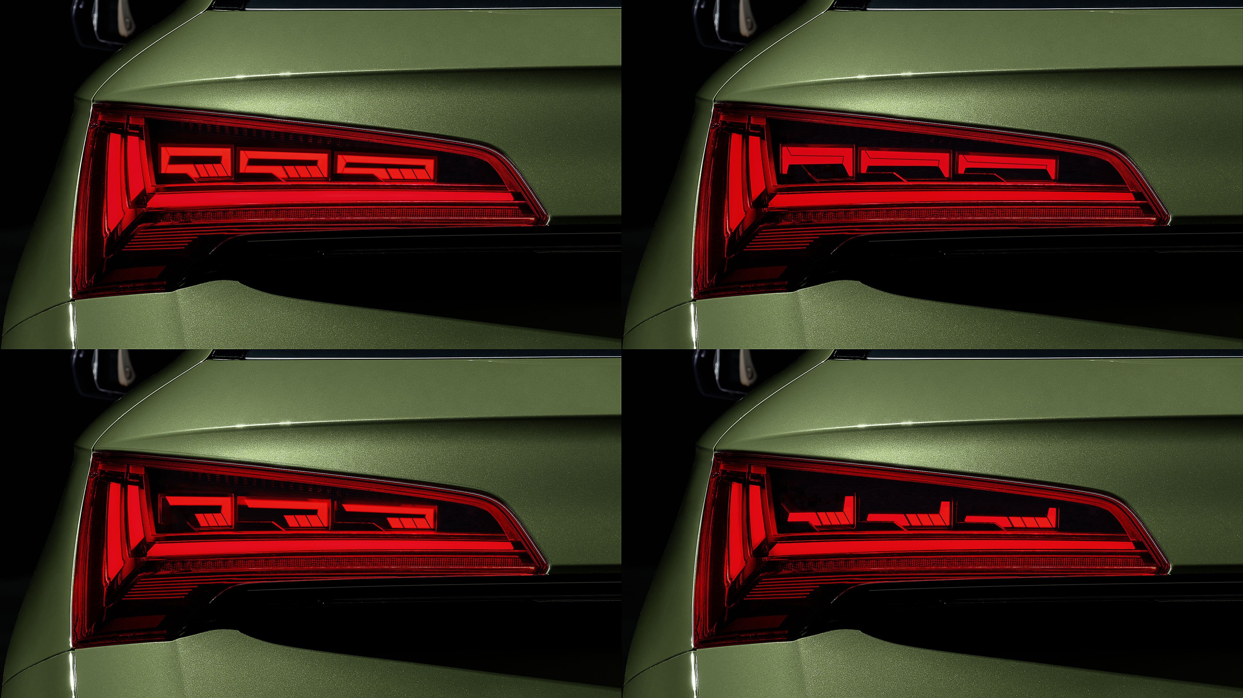 The highlight of Audi Q5 is the world's first OLED rear lights. These are split into three tiles of six segments each to create multiple designs and signatures from a single item of hardware. These also have practical usability.