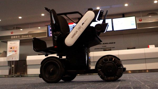 An autonomous personal mobility device developed by WHILL, Inc. is seen during it's trial at Haneda Airport in Tokyo, Japan July 1, 2020. REUTERS/Jack Tarrant (REUTERS)