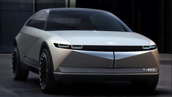 The EV concept, first revealed at the Frankfurt Motor Show in 2019, refers to both the 45 years since the Pony Coupe's release and the 45-degree angles in its exterior design.