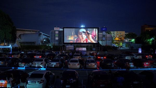 File photo: Vehicles are parked at the first drive-in movie theatre for people to enjoy movies while keeping social distancing amid the spread of the coronavirus disease in Bangkok, Thailand. (REUTERS)