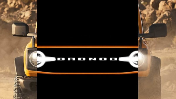 2021 Ford Bronco SUV's front face rendered through teasers released by the company.