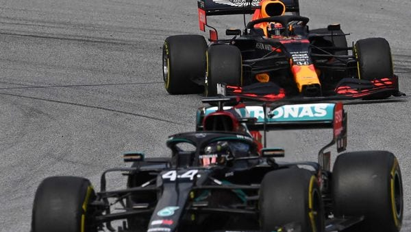 Mercedes driver Lewis Hamilton of Britain steers his car followed by Red Bull driver Alexander Albon of Thailand during the second practice session at the Red Bull Ring racetrack in Spielberg, Austria. (AP)