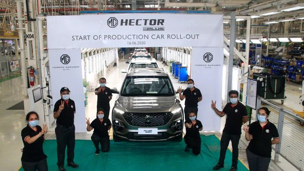 MG Hector Plus at the company's plant in Halol (Gujarat).